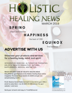 Holistic Healing News grey, green, and yellow advertising flier